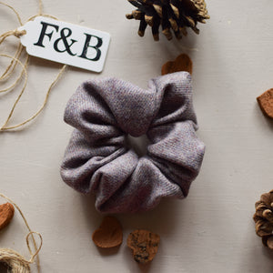 Lilac Tweed Scrunchie Handmade by F&B - Country Clothing Accessories - Quintessentially British