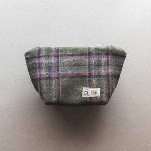 Meadow Tweed Wash Bag - Green and Pink Check Tweed Wash Bag Handmade by F&B in Yorkshire
