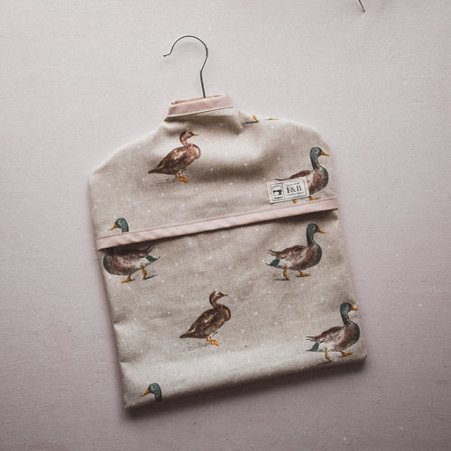 Duck Print Peg Basket - Handmade in Yorkshire by F&B - Useful Country Home Decor Items