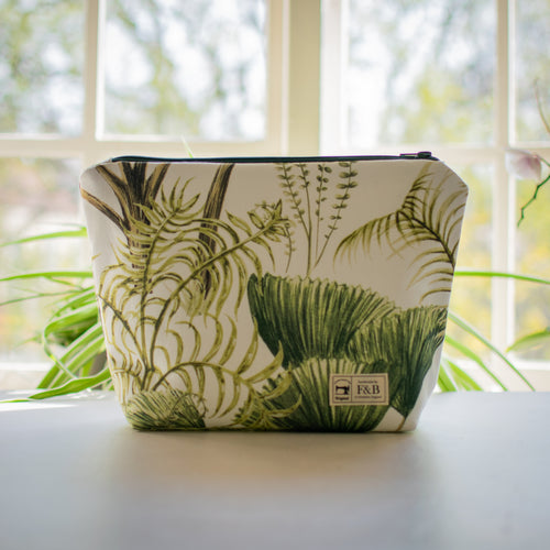 Tropical Leaf Jungle Print Wash Bag and Make up Bag Handmade in Yorkshire by F&B