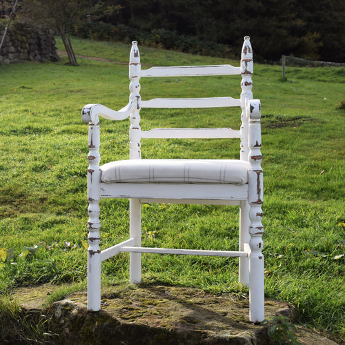 F&B International - White and Cream Check Shabby Chic Chair - Statement chair country cottage decor