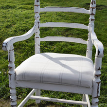 Shabby Chic chair with cream and grey tartan seat - farmhouse home decor