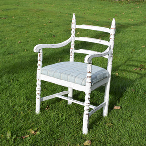 Shabby Chick Abraham Moon Tartan and White Chair - Handmade in Yorkshire