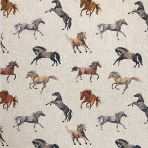 Wild horse print fabric - watercolour horse fabric design - perfecting for crafting and made from a lovely linen fabric