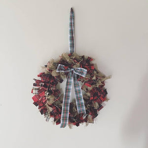 Fabric Wreath - Handmade in Yorkshire - Burlap and Tartan - Country Home Decor - F&B International - Autumn and Christmas Wreaths