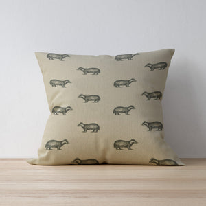 Badger Print Cushion - Handmade in Yorkshire - F&B International - Woodland Friends Collection