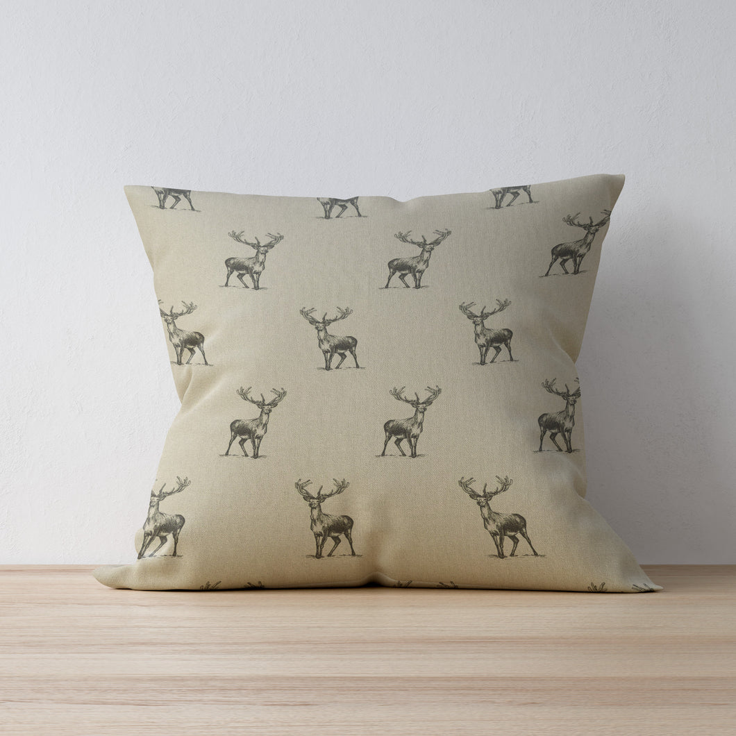 Stag Print Cushion - F&B International - Handmade in Yorkshire - Woodland Friends