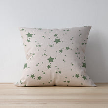 "Dark Green star print cushion - handmade by F&B - linen cushion with duck feather inserts available in 16"", 18"" and 20"" cushions"