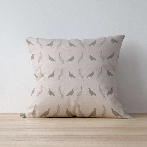 Grouse & Heather Linen Print Cushion Designed and Made by F&B in Yorkshire