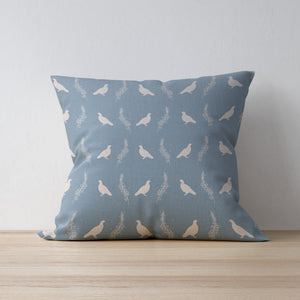 Grouse and Heather Print Fabric Cushion - Handmade in Yorkshire and designed by F&B