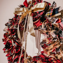 Red Gold Tartan and Hessian Wreath - Handmade by F&B in Yorkshire
