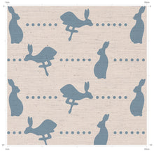 Blue Hare and Dots print linen fabric featuring running and sitting hares on a linen background with dots - designed by F&B and inspired by British country living
