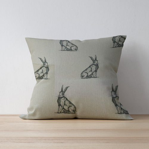Hare Print Cushion - Made in Yorkshire by F&B - Forest Friends - Woodland Friends by Art of the Loom
