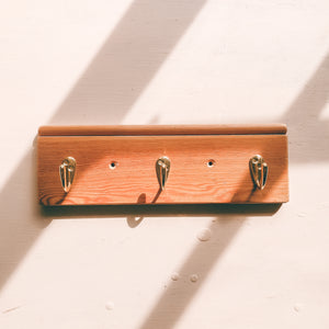 handmade key ring rack - simple 3 hook rack perfect for hanging keys and hats, handmade in yorkshire