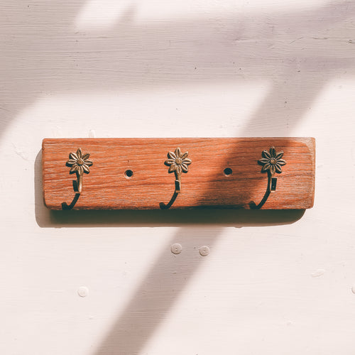 3 hook, flower style wooden keyrack handmade in Yorkshire using reclaimed wood and recycled hooks