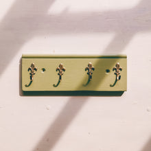 Light green fleur de lis key ring rack using recycled wood and reclaimed hooks - handmade in yorkshire