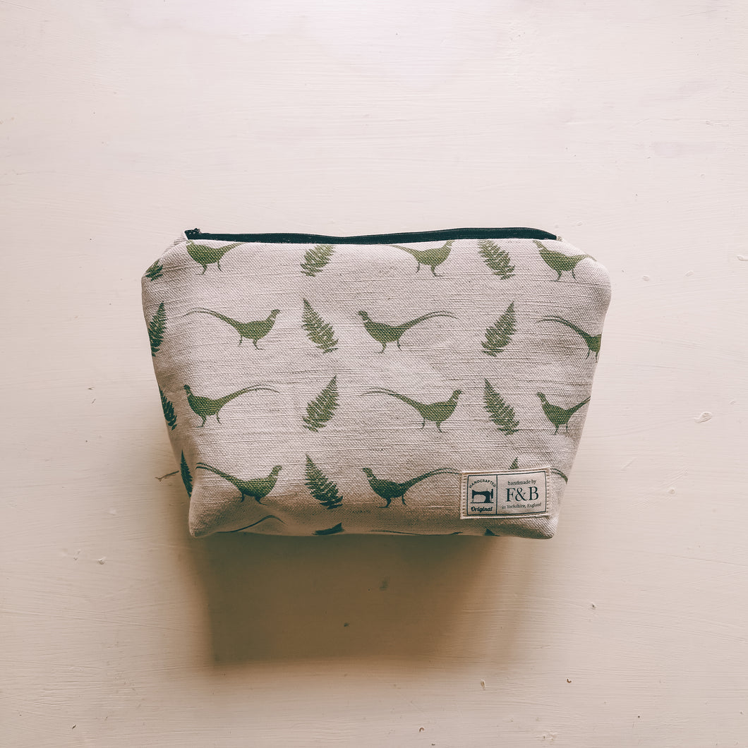 Small Pheasant and Fern Wash Bag Handmade In Yorkshire by F&B