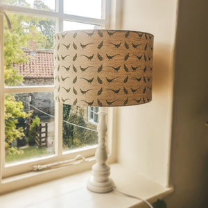 Pheasant Print Lampshade - Country Home Decor - Handmade by F&B - Pheasant & Fern Print F&B fabric available in green, blue, pink and grey