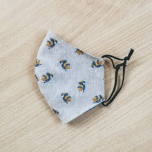 bee face masks featuring watercolour bees on a linen background - handmade masks