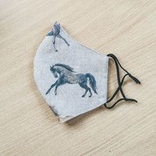 Watercolour horse face mask on a linen fabric - handmade by F&B