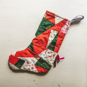 Patchwork Christmas Stocking with Bell