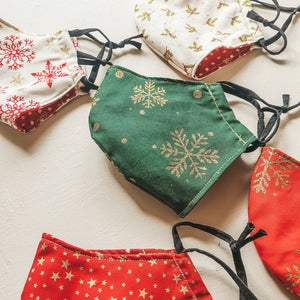 Christmas face masks - snowflakes, stars and holly