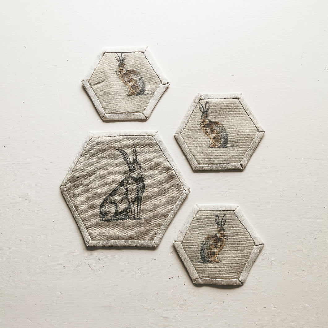 Hare Print Coasters handmade by F&B - saving waste and looking cute in your home