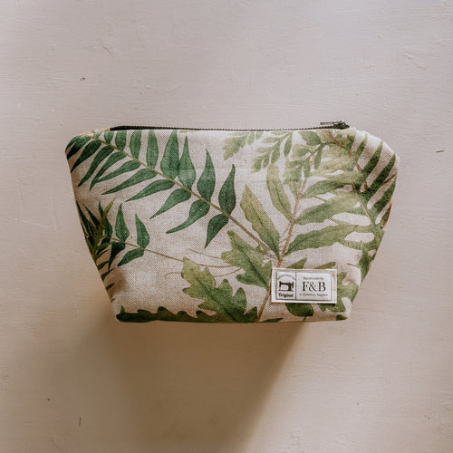 F&B Handmade Leafy Wash Bag in a lovely plant print