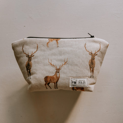 Deer Print washbags featuring doe, stags and fawns on a lovely linen fabric - handmade by F&B in Yorkshire