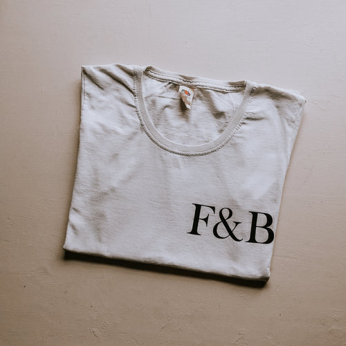 F&B T-Shirts - featuring F&B text on the front and fox on the back of a plain white T-Shirt