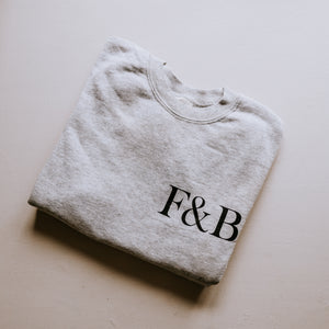 F&B grey sweatshirt with F&B text on the front and a large red logo fox on the back