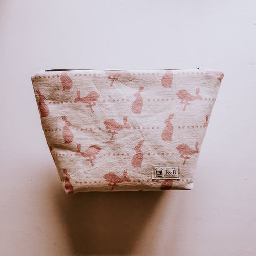 Handmade Wash bags featuring hare and dots pattern by F&B - Large and medium sized washbags inspired by yorkshire