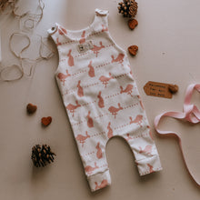 F&B childrens country clothing - baby romper in organic fabric featuring hares and dots