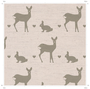 Grey Deer and Rabbit Print Hob Covers for your country kitchen - handmade by F&B