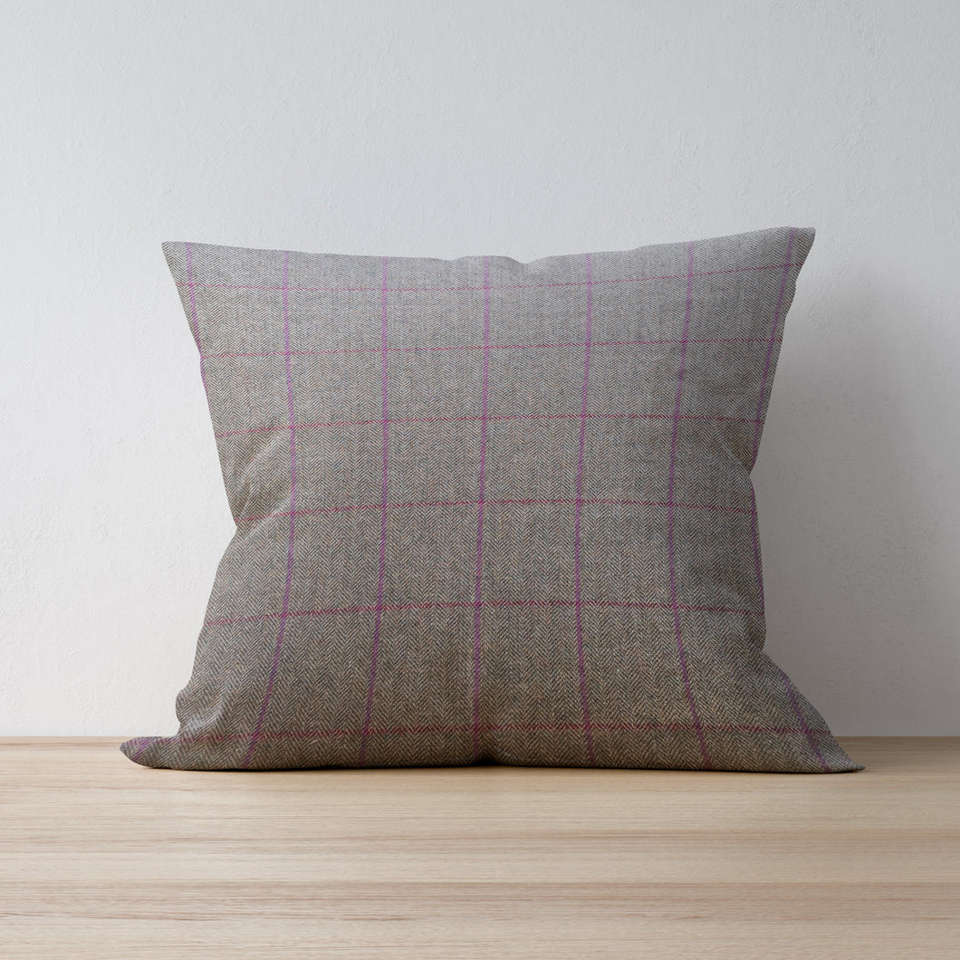 Herringbone Khaki with Pink and Red Check - Handmade in Yorkshire by F&B - Tweed cushions are the perfect accessory for any country home decor, farmhouse decor and country abodes