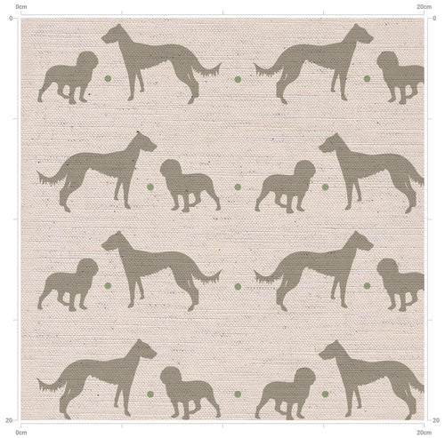 Dog Print Fabric - Lurcher & Cocker Spaniel - Lindt and Buck - Designed by F&B Printed in England - Cotton Linen  Country Print Fabric - Country Home Decor