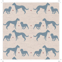 Seashore Blue Dog Print Fabric - Featuring working dogs - the perfect fabric for any country home - inspired by Yorkshire and designed by F&B