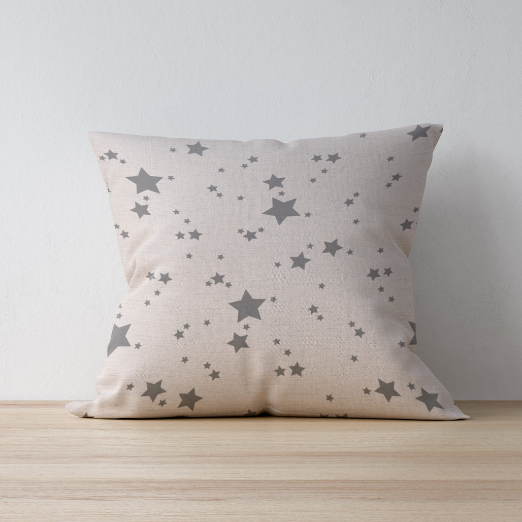Light Grey Star Print Cushion - Designed and Made by F&B - country home decor designed and made in yorkshire