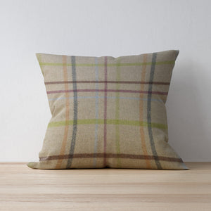Multicheck Natural Cushion Handmade in Yorkshire by F&B from Abraham Moon Wool