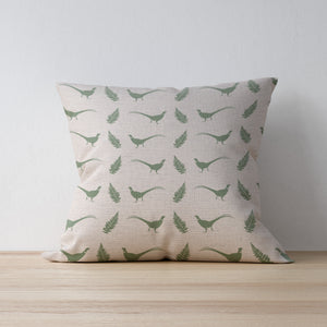 "Sale 22"" Duck Feather Pheasant & Fern Linen Cushion"