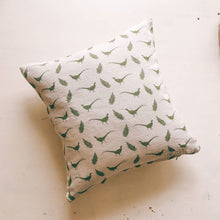 Pheasant and Fern Print Cushion in Hovingham Green - Inspired by Yorkshire, Designed and Made by us F&B