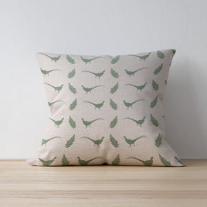 Hovingham Green Cushion available in Duck Feather or Hollowfibre featuring Pheasants and Fern Leaves - Designed and Made by F&B