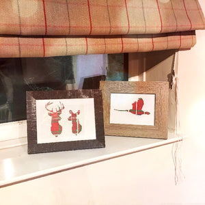 Stag and Doe and Pheasant Tartan Cross Stitch Completed designs
