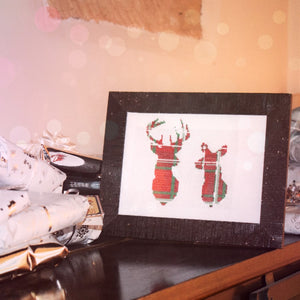 Stag and Doe Tartan Framed and Finished Cross Stitch
