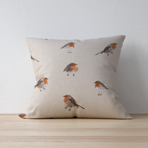Robin Print Cushion - Handmade in yorkshire - the perfect country home decor for autumn and winter