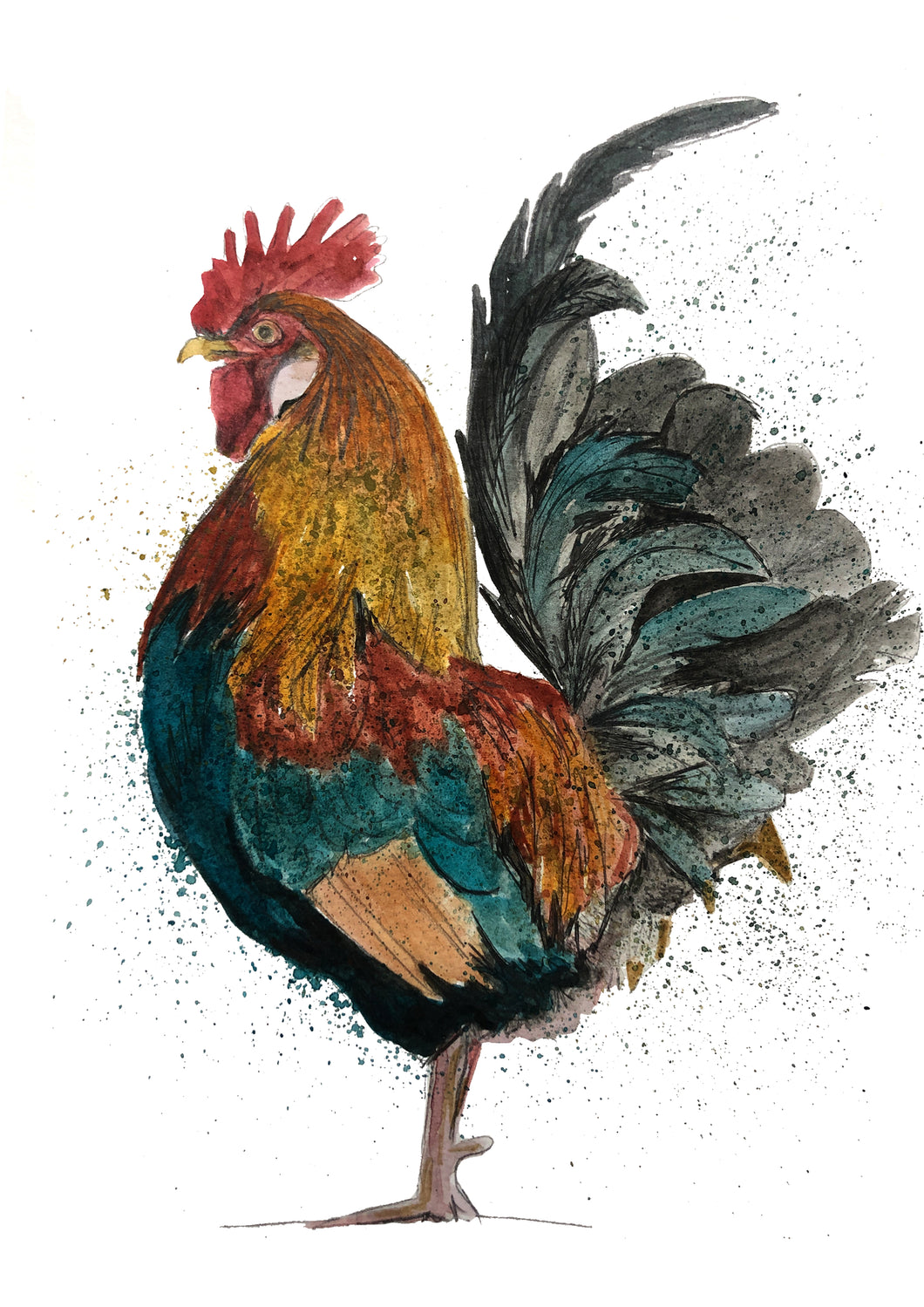 Handsome Rooster Print Watercolour and Ink Painting by Yorkshire Artist Ellie Baarda