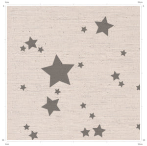 Country style fabrics - designed in yorkshire - simple grey star print fabric on natural linen