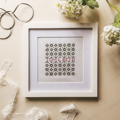 personalised cross stitch for wedding gifts, wedding decorations, christenings and birthday presents - handmade by F&B hand stitched in yorkshire