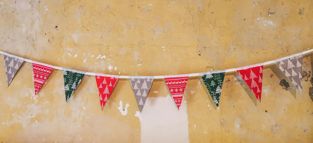 Red, Grey and Green Christmas Bunting, featuring christmas trees and reindeer - Handmade by F&B