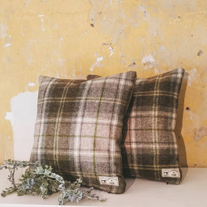Abraham Moon Broadway Tweed Cushion Lichen - Handmade in Yorkshire Green and Cream Tweed Cushion